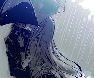anime, rain, and kiss image