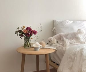 bedroom, dogs, and flowers image