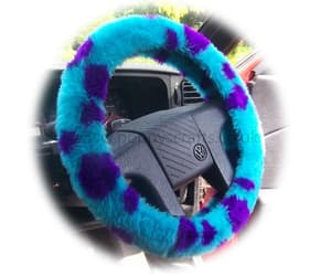 faux fur, sully, and steering wheel cover image