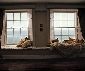 couple, window, and bed image