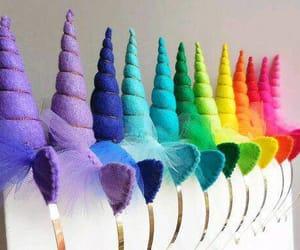colorful, unicorn, and rainbow image