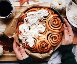 autumn, cinnamon rolls, and coffee image