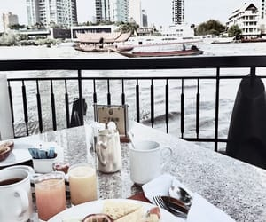boat, breakfast, and drinks image