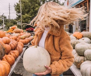 autumn, fashion, and pumpkin image