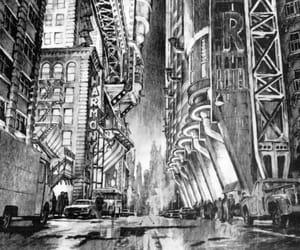 batman, concept art, and gotham city image