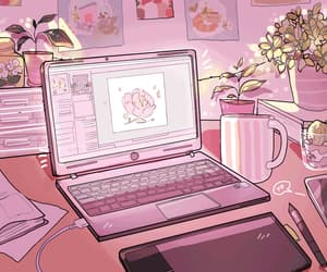 flowers, gif, and laptop image