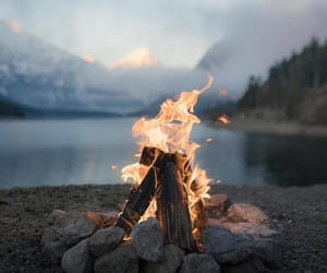 camping, clouds, and fire image