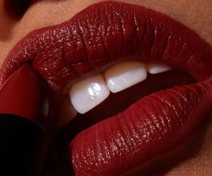 red, girl, and lips image
