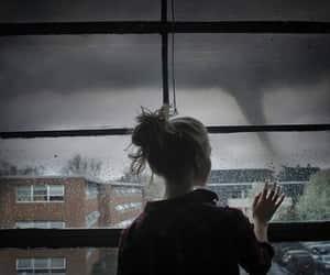 girl, storm, and rain image