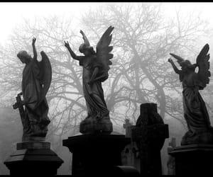 angel, fog, and graveyard image