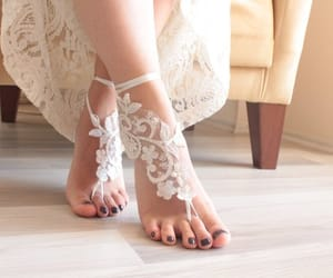 accessories, barefoot, and wedding shoes image