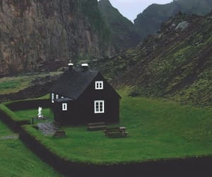 black, house, and hills image