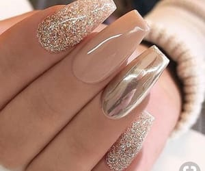 nails, nude color, and gold color image
