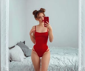 red, bikini, and body image