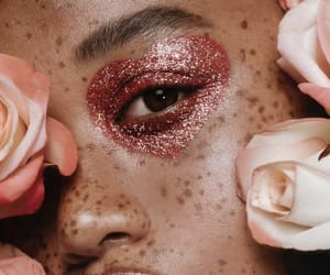 flowers, freckles, and makeup image
