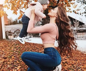 autumn, baby, and mother image