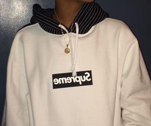 supreme, white, and sweatshirt image