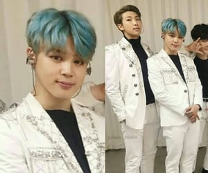 army, blue hair, and idol image