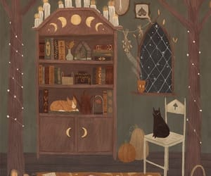 cat, autumn, and drawing image