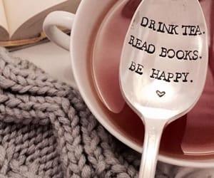 book, tea, and happy image