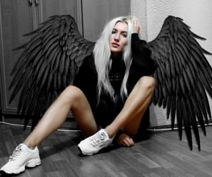 angel, black, and blonde girl image