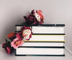 books, flowers, and read image