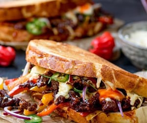 sandwich, jalapeno, and beef image