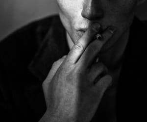 black & white, smoke, and cigarette image