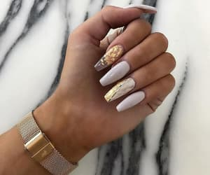 nails, beautiful, and gold image