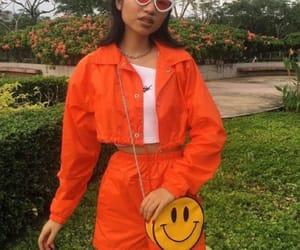 fashion, girl, and orange image