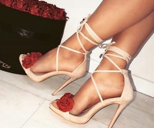 girl, rose, and high heels image