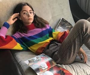 outfit, girl, and rainbow image