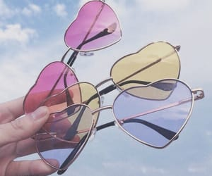pink, blue, and sunglasses image