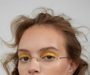 girl, yellow, and makeup image