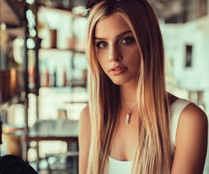 blond hair, blue eyes, and girl image