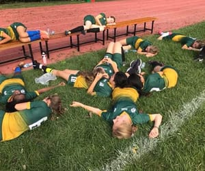 girls, recovery, and soccer image