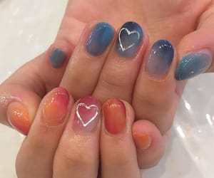 blue, ombre, and nailart image