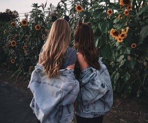 friends, best friends, and sunflower image
