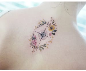 body art, compass, and floral image