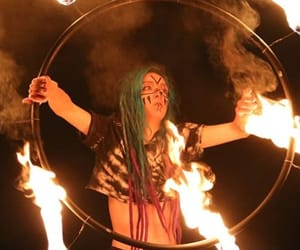 arte, fire, and green dreads image