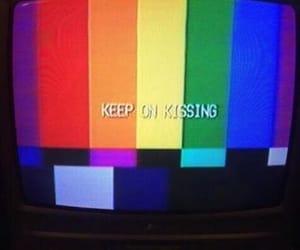 aesthetic, kiss, and rainbow image