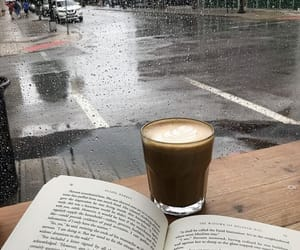 books, rainy, and coffee image
