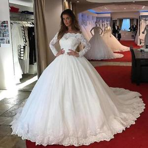 Off The Shoulder Ball Gown Wedding Dresses Long Sleeves Corset Bridal Dresses Ebay