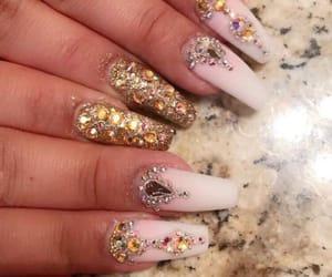 pink nails, gold nails, and girly nails image