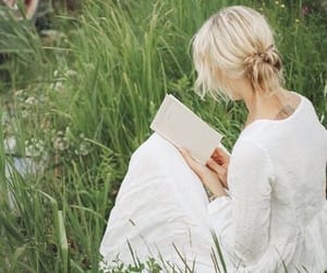 blond hair, grass, and pond image