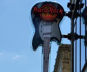 guitar, neon signs, and hard rock cafe image