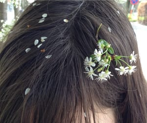 flowers, hair, and pale image