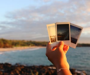 beach, polaroid, and water image