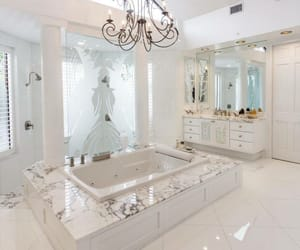 bathroom, chandelier, and home image