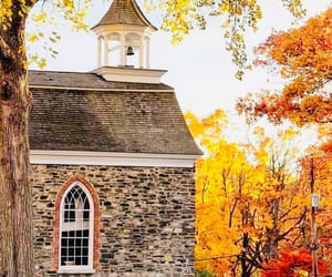 autumn, colorful, and church image